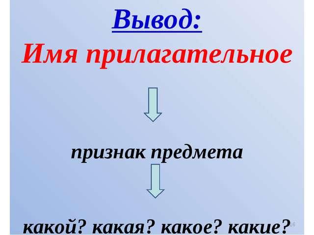 Вывод: Имя прилагательное признак предмета какой? какая? какое? какие? *