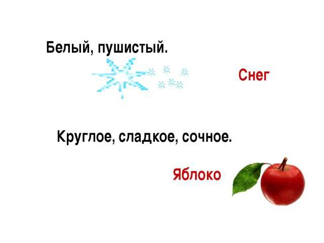 Белый, пушистый. Круглое, сладкое, сочное. Яблоко Снег