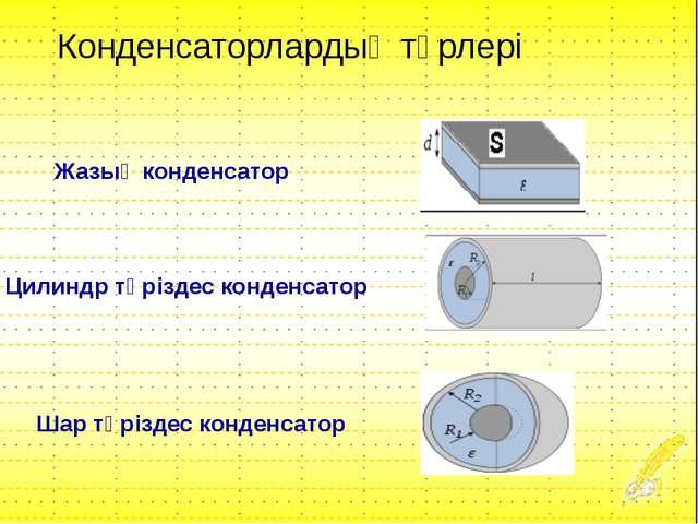Жазық конденсатор Цилиндр тәріздес конденсатор Шар тәріздес конденсатор Конде...