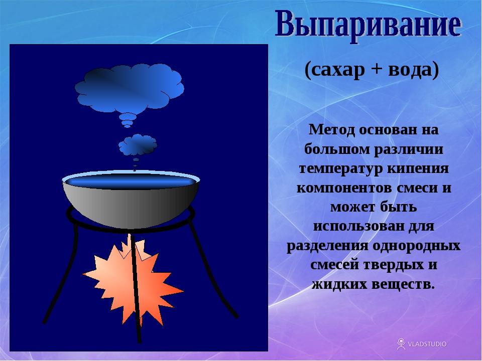 (сахар + вода) Метод основан на большом различии температур кипения компонент...