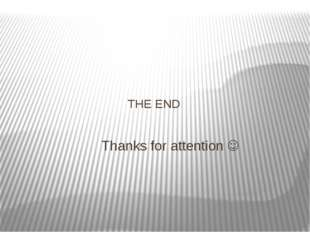 THE END Thanks for attention 