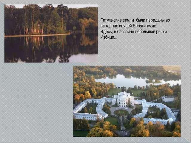 Гетманские земли были переданы во владение князей Барятинских. Здесь, в бассе...