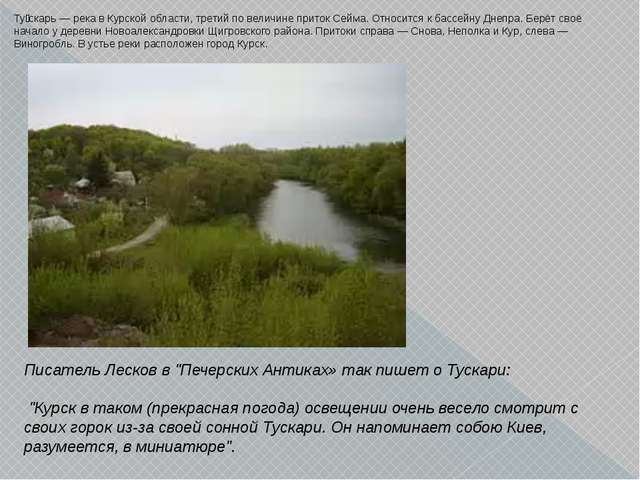 Ту́скарь — река в Курской области, третий по величине приток Сейма. Относится...
