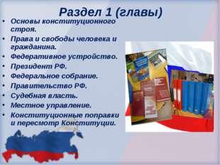 Раздел 1 (главы) Основы конституционного строя. Права и свободы человека и г