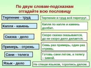 По двум словам-подсказкам отгадайте всю пословицу Терпение - труд Капля - кам