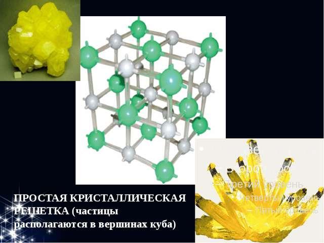 ПРОСТАЯ КРИСТАЛЛИЧЕСКАЯ РЕШЕТКА (частицы располагаются в вершинах куба)