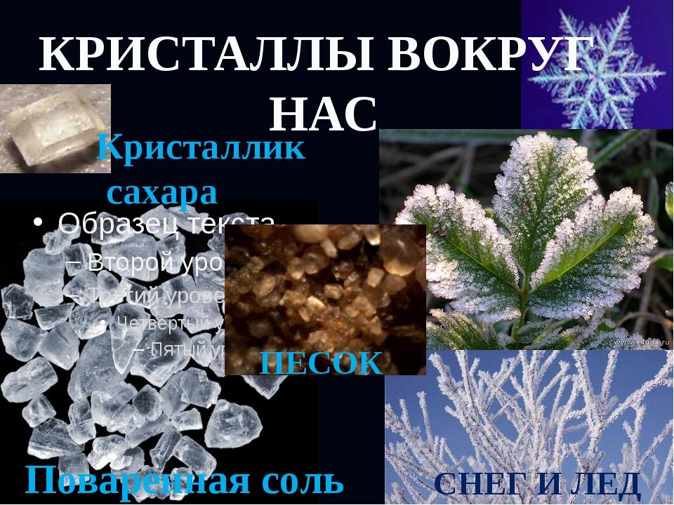 КРИСТАЛЛЫ ВОКРУГ НАС Поваренная соль Кристаллик сахара СНЕГ И ЛЕД ПЕСОК