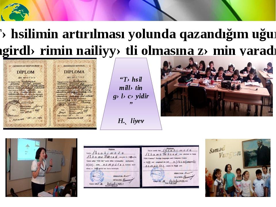 """""""Təhsil millətin gələcəyidir"""" H.Əliyev Təhsilimin artırılması yolunda qazandı..."""