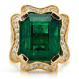 Изумруд в золотом кольце с бриллиантами