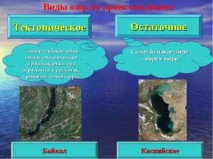Тектоническое Остаточное Самые глубокие озёра имеют тектоническое происхожден