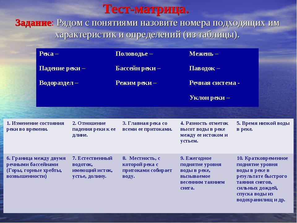 8 класс тема внутренние воды тест-матрица