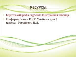http://ru.wikipedia.org/wiki/Электронная таблица Информатика и ИКТ. Учебник д