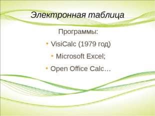 Программы: VisiCalc (1979 год) Microsoft Excel; Open Office Calc… Электронная