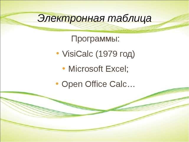 Программы: VisiCalc (1979 год) Microsoft Excel; Open Office Calc… Электронная...