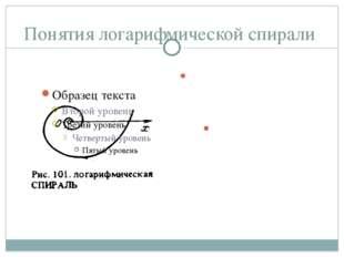 Понятия логарифмической спирали Логарифмическая спираль – это линии в геометр