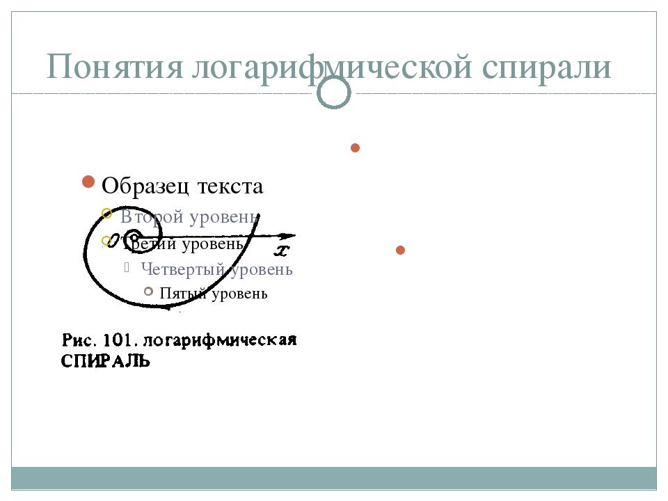 Понятия логарифмической спирали Логарифмическая спираль – это линии в геометр...