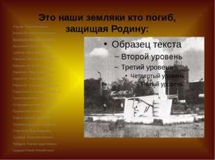 Это наши земляки кто погиб, защищая Родину: Анучин Тихон Иванович Баскин Васи