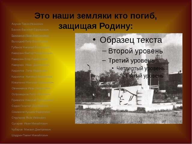 Это наши земляки кто погиб, защищая Родину: Анучин Тихон Иванович Баскин Васи...