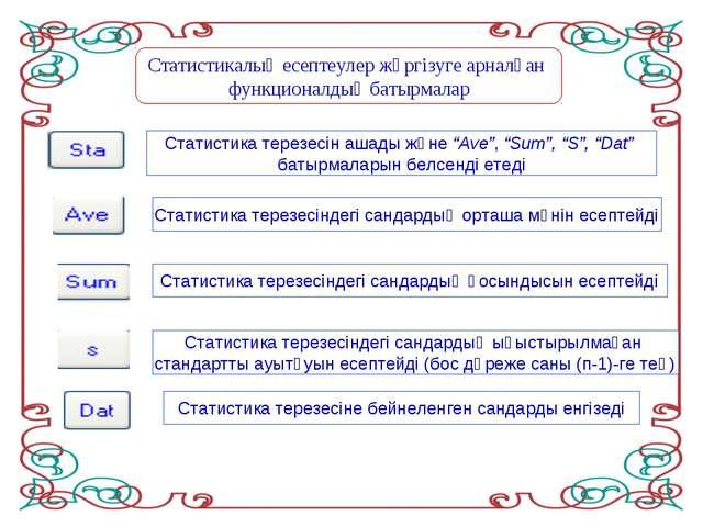 Статистикалық есептеулер жүргізуге арналған функционалдық батырмалар Статисти...