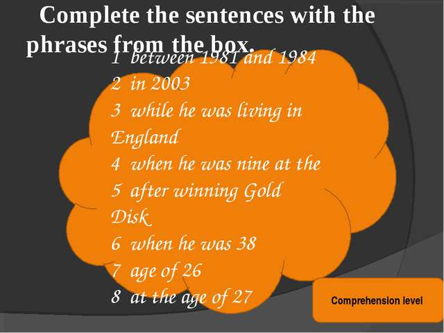 Complete the sentences with the phrases from the box. 1 between 1981 and 198...