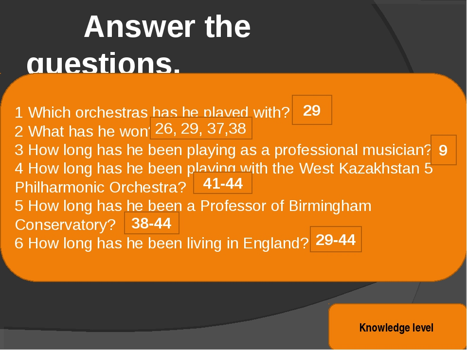 Answer the questions. Knowledge level 1 Which orchestras has he played with?...