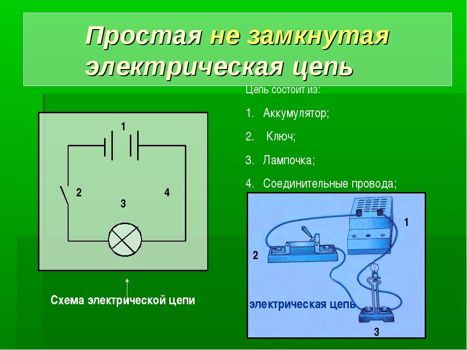Простая не замкнутая электрическая цепь Цепь состоит из: Аккумулятор; Ключ; Л...