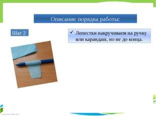 Описание порядка работы: Шаг 2 Лепестки накручиваем на ручку или карандаш, но