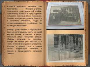 Жертвой кулацкого заговора стал Константин Писарев-учитель, организатор комсо