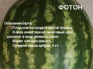 ФОТОН Описание сорта: ·Плод слегка продолговатой формы ·Корка имеет яркий с