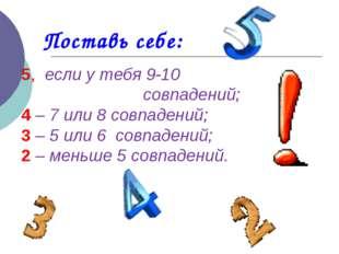 Поставь себе: 5, если у тебя 9-10 совпадений; 4 – 7 или 8 совпадений; 3 – 5 и