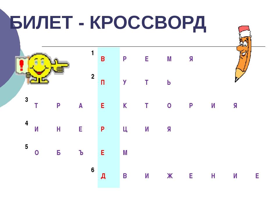 БИЛЕТ - КРОССВОРД 1 В Р Е М Я 2 П У Т Ь 3 Т Р А Е К Т О Р И Я 4 И Н Е Р Ц И Я...