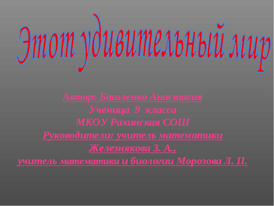Автор: Башленко Анастасия Ученица 9 класса МКОУ Рахинская СОШ Руководители: у...