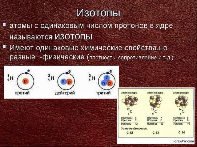 Изотопы атомы с одинаковым числом протонов в ядре называются изотопы Имеют од...