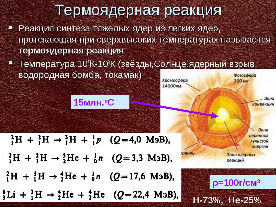 Термоядерная реакция Реакция синтеза тяжелых ядер из легких ядер, протекающая...