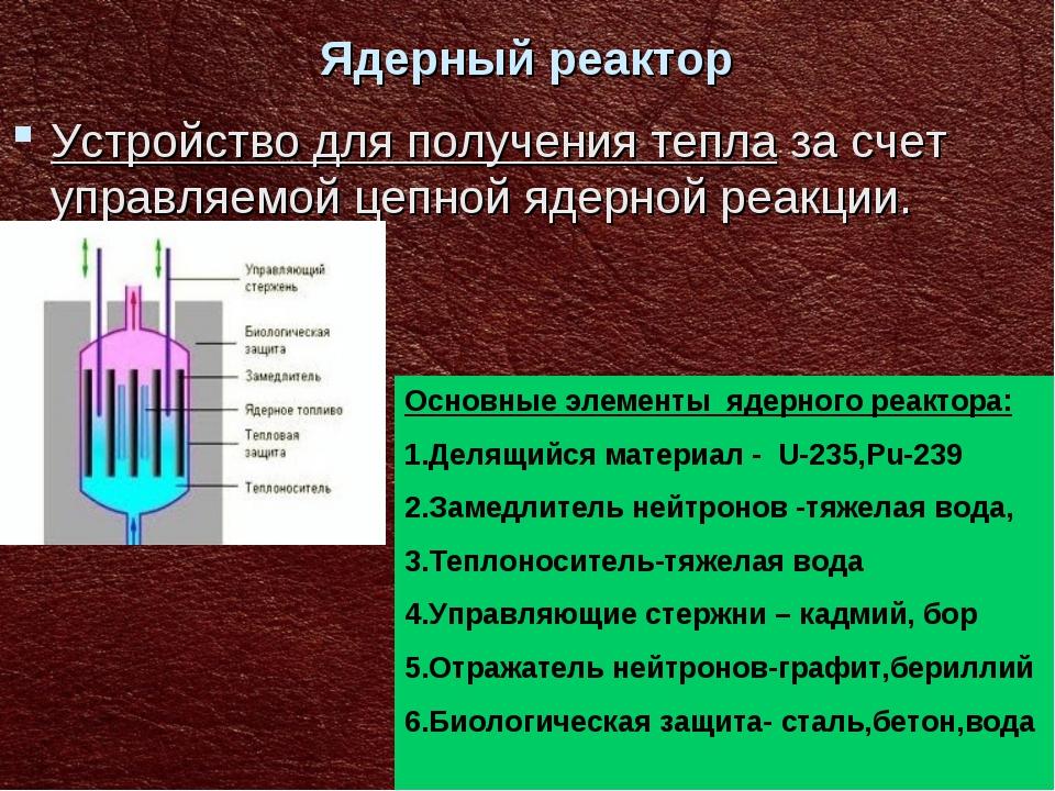 Ядерный реактор Устройство для получения тепла за счет управляемой цепной яде...