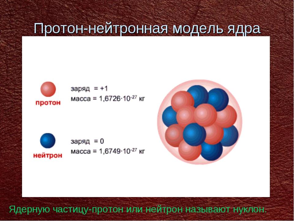 Протон-нейтронная модель ядра Ядерную частицу-протон или нейтрон называют нук...