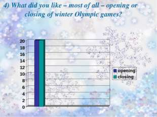 4) What did you like – most of all – opening or closing of winter Olympic gam
