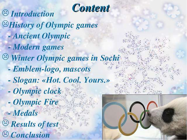 Content Introduction History of Olympic games - Ancient Olympic - Modern game...