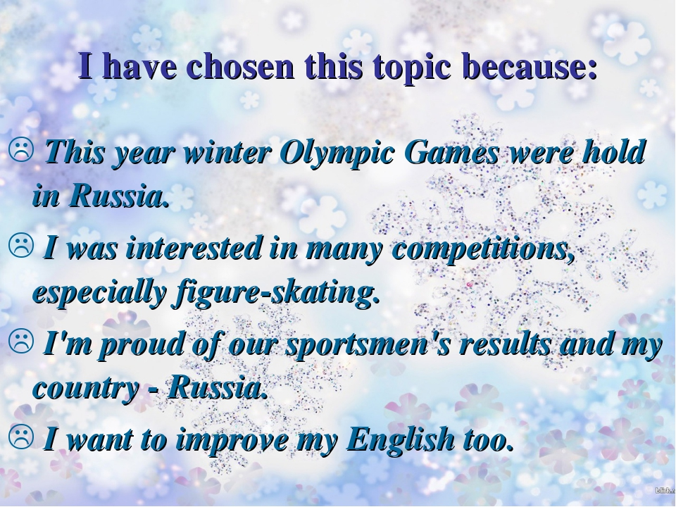 This year winter Olympic Games were hold in Russia. I was interested in many...