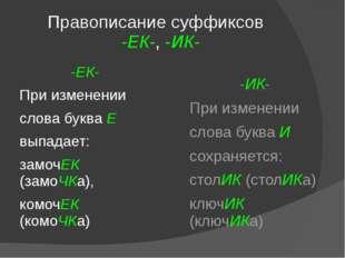 Правописание суффиксов -ЕК-, -ИК- -ЕК- При изменении слова буква Е выпадает: