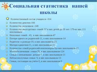 Количественный состав учащихся -314 Количество девочек-166 Количество мальчи