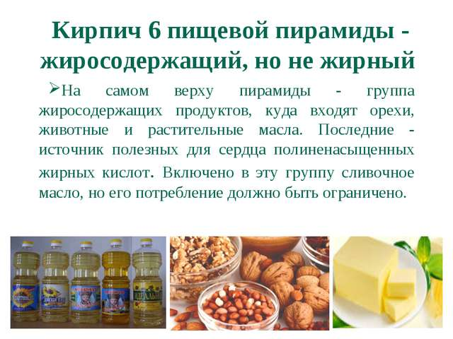 Кирпич 6 пищевой пирамиды - жиросодержащий, но не жирный  На самом верху пир...