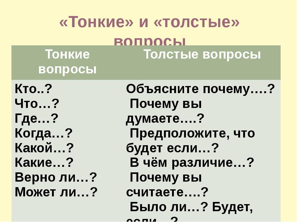 «Тонкие» и «толстые» вопросы Тонкие вопросы Толстые вопросы Кто..? Что…? Где…...