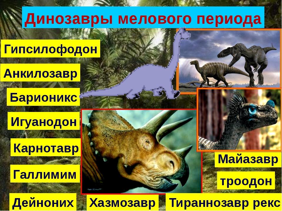 Динозавры мелового периода Анкилозавр Барионикс Карнотавр Хазмозавр Дейноних...