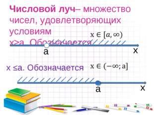 Числовой луч– множество чисел, удовлетворяющих условиям x≥а. Обозначается а x