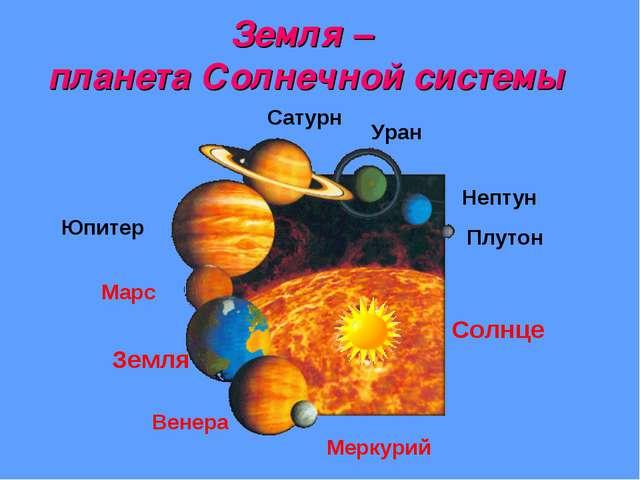 Земля – планета Солнечной системы Меркурий Венера Земля Марс Юпитер Сатурн Ур...