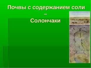 Почвы с содержанием соли – Солончаки