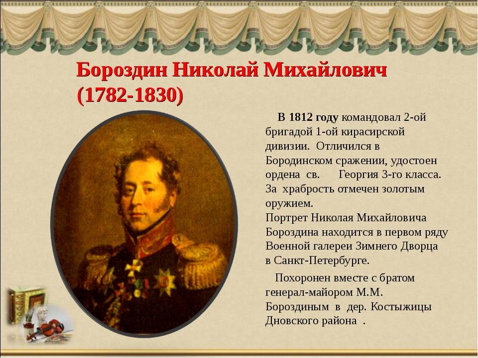 Бороздин Николай Михайлович (1782-1830) В 1812 году командовал 2-ой бригадой...