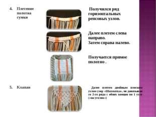4.Плетение полотна сумки  Получился ряд горизонтальных репсовых узлов. Дал