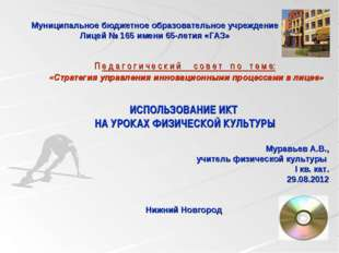 Муниципальное бюджетное образовательное учреждение Лицей № 165 имени 65-летия
